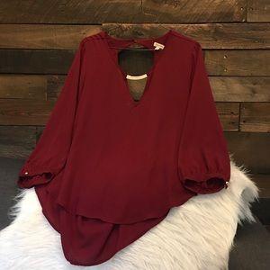 Red open back long sleeve dress shirt